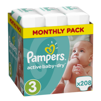 Πάνες Ρampers Active baby dry Monthly Pack Νο3 208 τεμ.