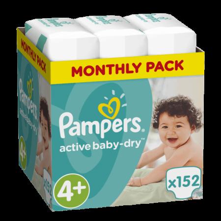 Πάνες Ρampers Active baby dry Monthly Pack Νο4+152 τεμ