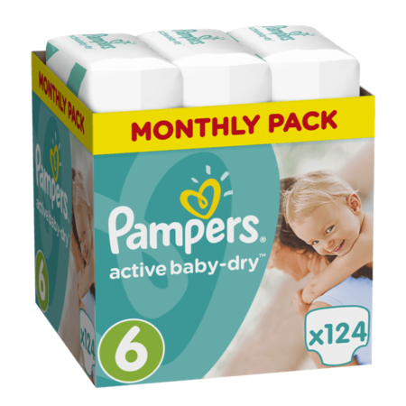Πάνες Ρampers Active baby dry Monthly Pack Νο6 (15+kg)