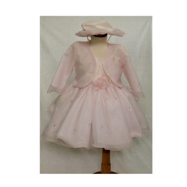 βαφτιστικο φορεμα με μπολερο και καπελο