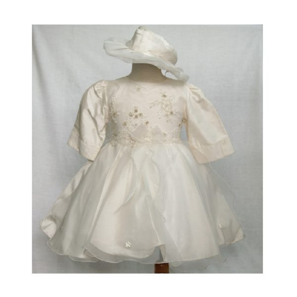 βαφτιστικο φορεμα με καπελο μακρυ μανικι