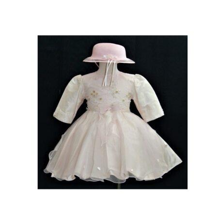 Βαφτιστικό Φόρεμα Ροζ με καπέλο 100126