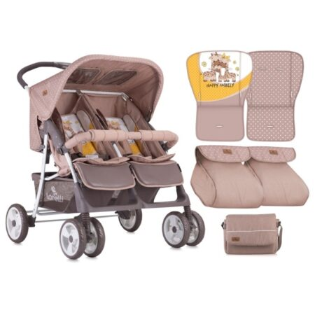 Καρότσι δίδυμων Lorelli Twin Beige Yellow Happy Family