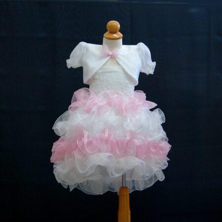 Βαφτικό φόρεμα με φρου-φρου με καπέλο και μπολερό 100152.