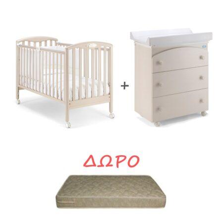 Set Κρεβατάκι και Αλλαξιερα Pali Dado Bianco Classico - δώρο στρώμα Leader Strom